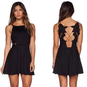 FREE PEOPLE Black Open Back Strappy Skater Dress